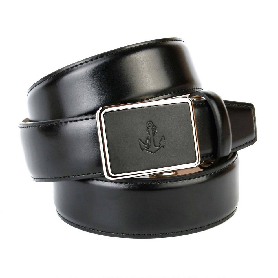 Anthoni Crown Ledergürtel glatt mit Anker-Prägung in Schwarz