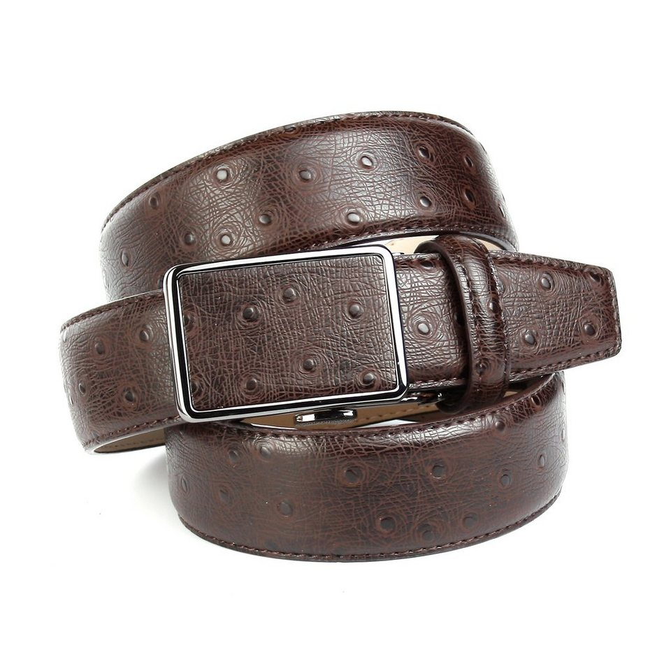 Anthoni Crown Ledergürtel mit Straußen-Prägung in Braun