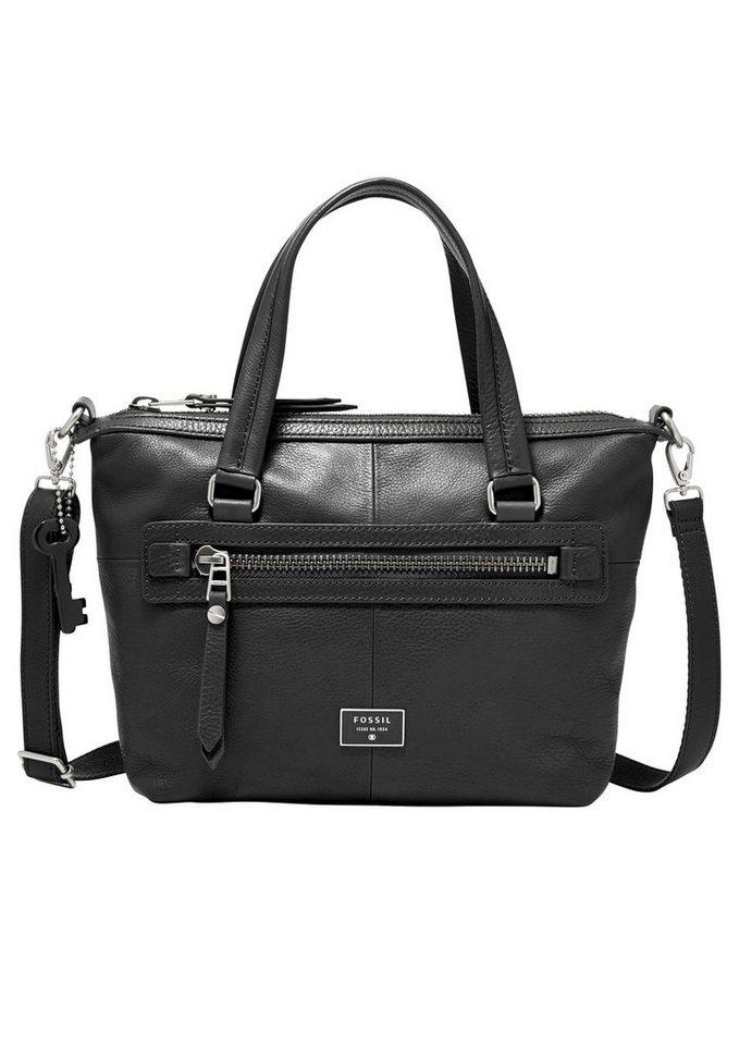 Fossil Handtasche »DAWSON SATCHEL« aus Leder in schwarz