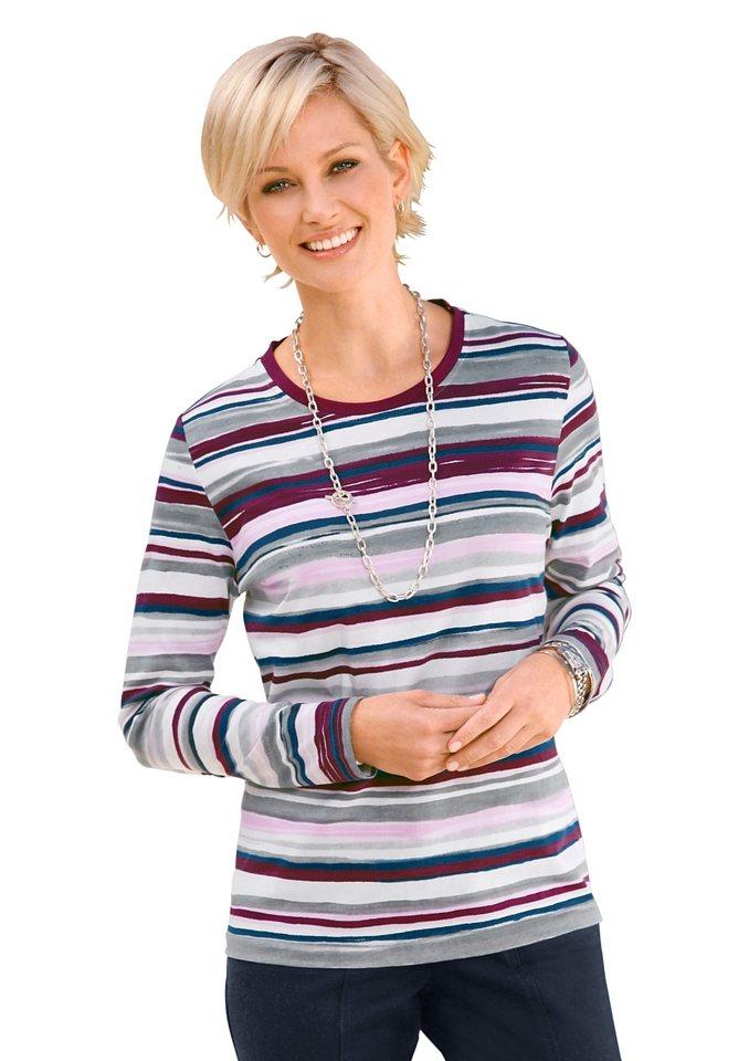 Collection L. Shirt in hochwertiger PURE WEAR-Qualität in fuchsia-marine-geringelt