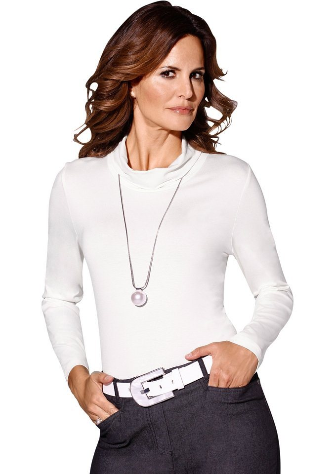 Classic Inspirationen Shirt mit halsfernem Rollkragen in ecru