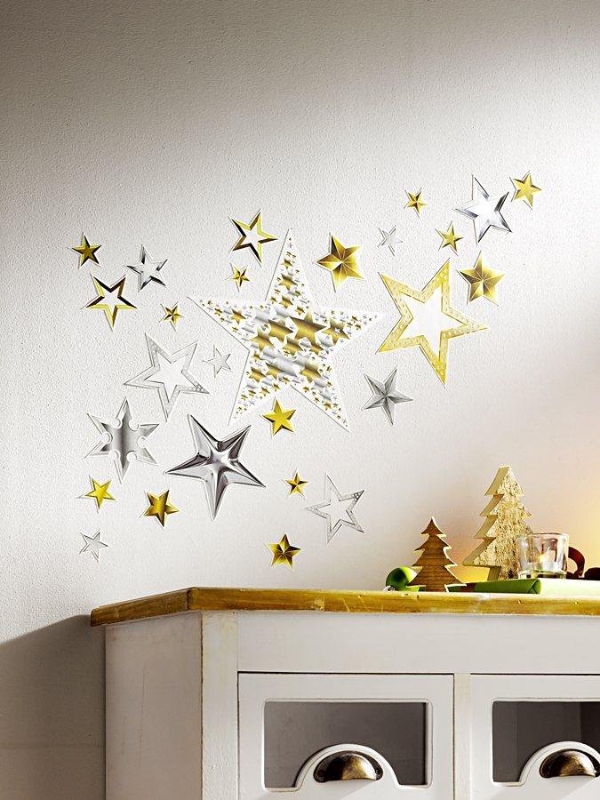 Wallsticker Sterne, 41-teilig in goldfarben/silberfarben