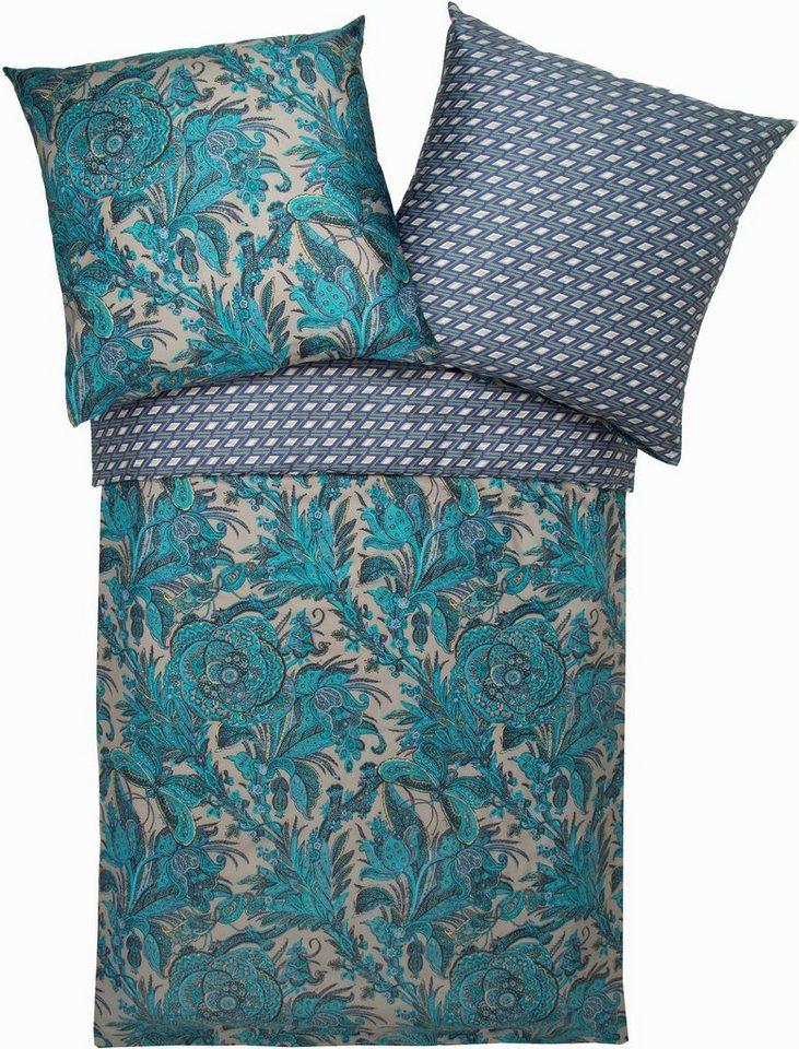 Wendebettwäsche, Zucchi, »Garden«, mit Paisleys in blau