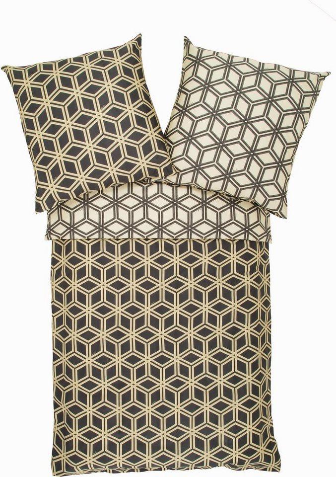 Wendebettwäsche, Zucchi, »Esagon«, mit geometrischen Muster in schwarz