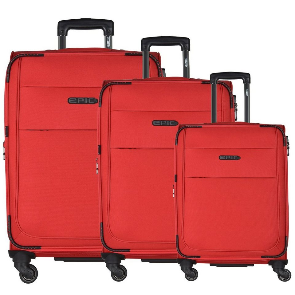 Epic DiscoveryAIR 4-Rollen-Trolley Kofferset 3-tlg. 77 cm in rot