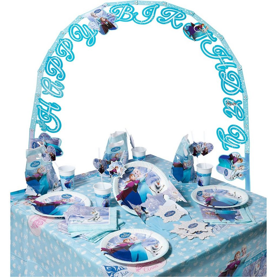 Procos Partyset Disney Die Eiskönigin Ice Skating, 56-tlg. in blau