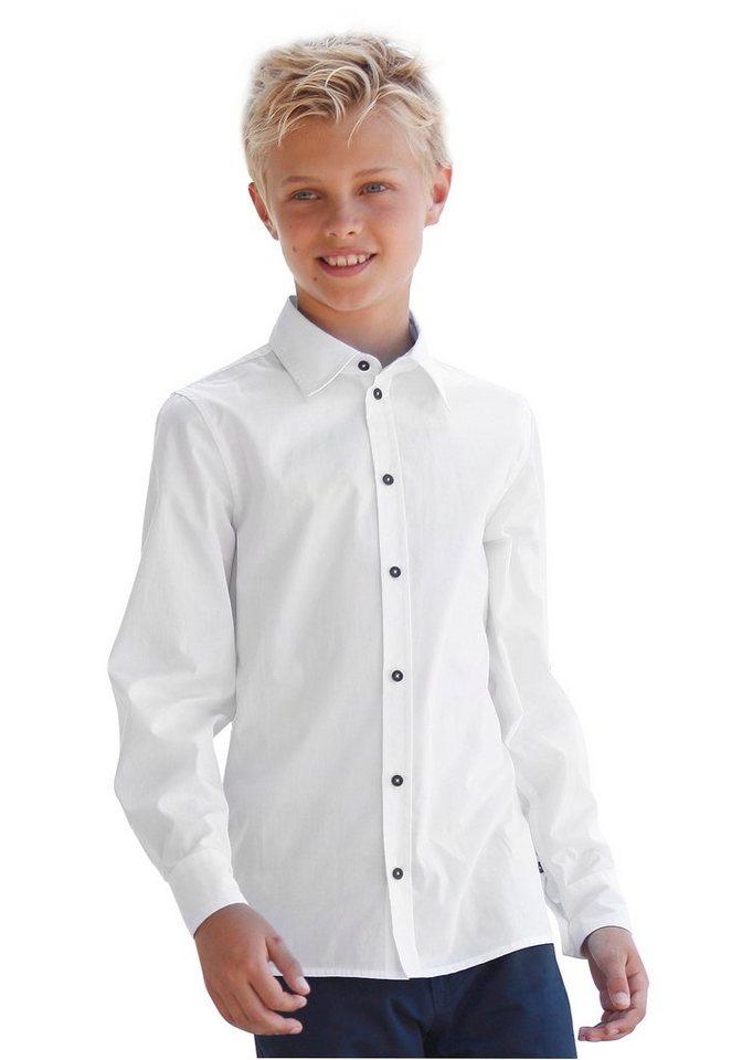 KIDSWORLD Hemd mit kontrastfarbenem Innenkragen in weiß