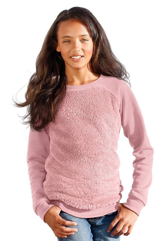 Arizona Sweatshirt mit Plüscheinsatz in rosa