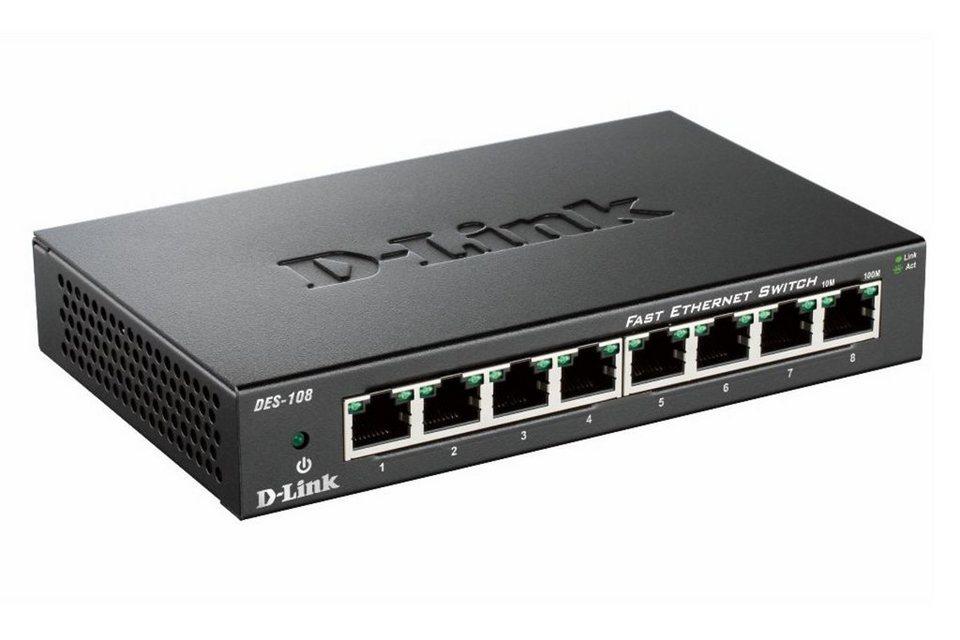 D-Link Switch »DES-108 8-Port Layer2 Fast Ethernet Switch« in Schwarz