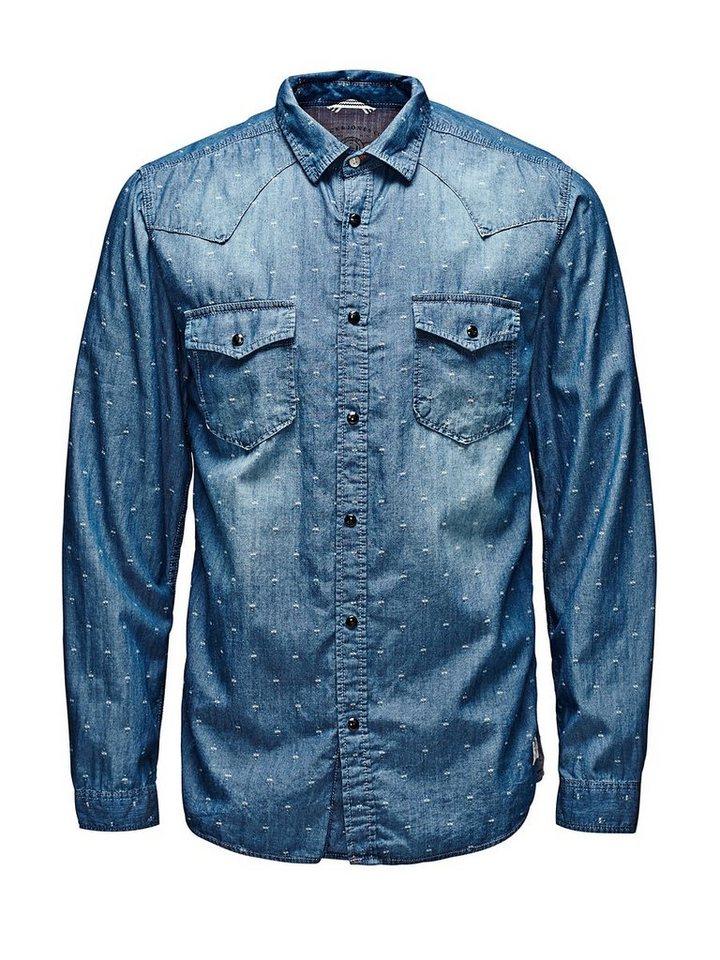 Jack & Jones Entspannt, Western Freizeithemd in Light Blue Denim