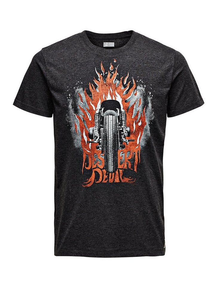 Jack & Jones Biker, Print, Slim Fit T-Shirt in Dark Grey Melange