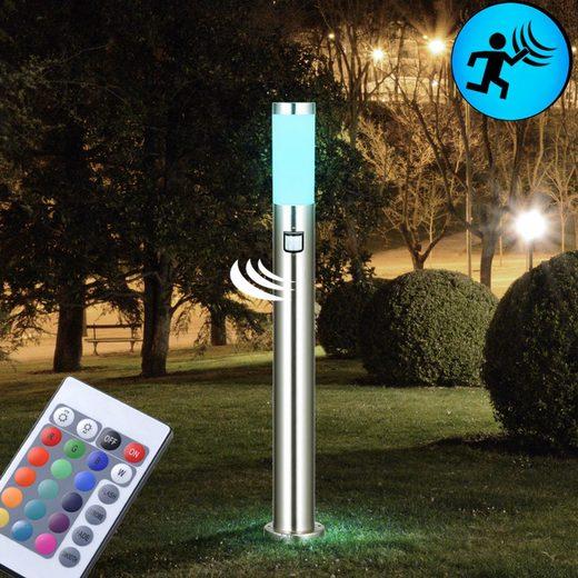 etc-shop LED Außen-Stehlampe, Edelstahl Außen Leuchte Sensor Farbwechsel Stand Lampe im Set inklusive 7,5 Watt RGB LED Leuchtmittel