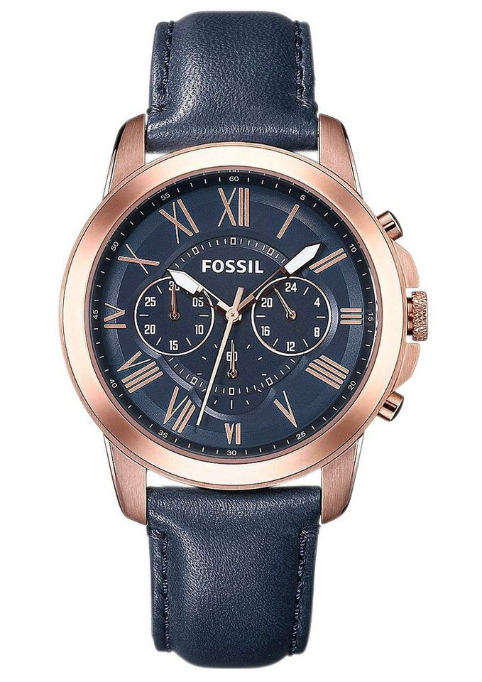 "Fossil, Chronograph, ""GRANT, FS4835"" in blau"