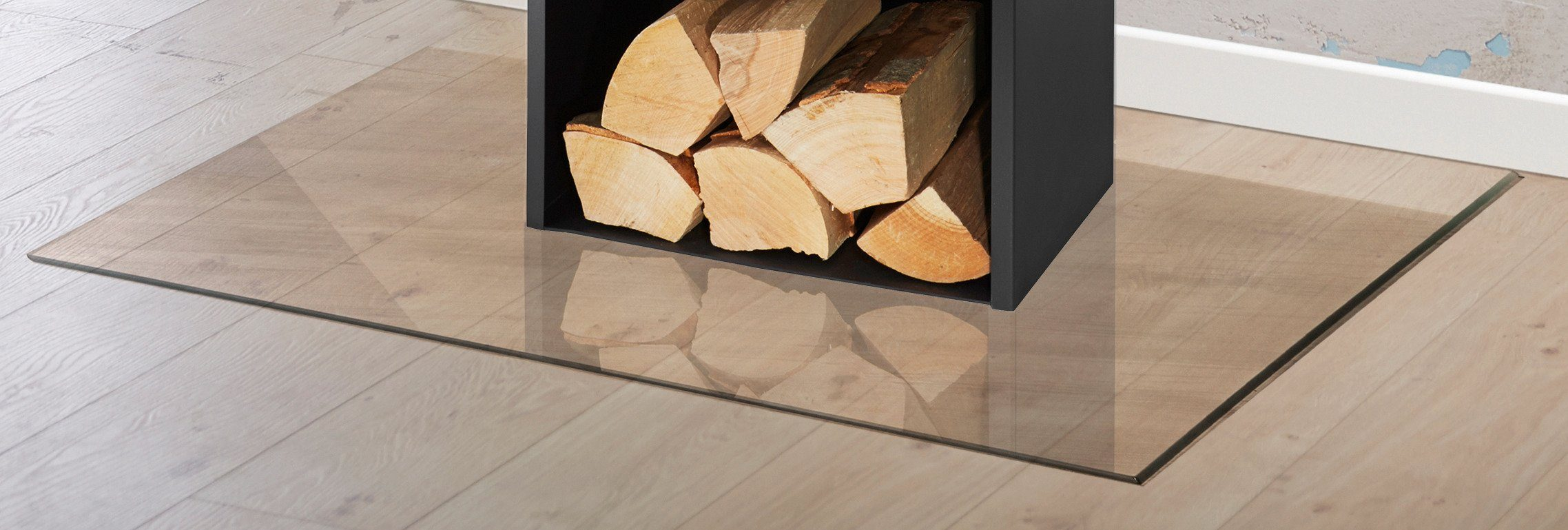 Glasbodenplatte »Rechteck«, 100 x 120 cm, transparent, zum Funkenschutz