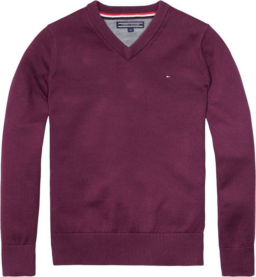 Tommy Hilfiger Pullover »TOMMY VN SWEATER L/S« in Potent Purple