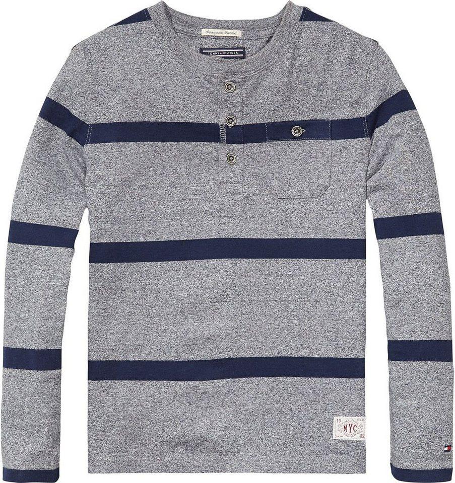 Tommy Hilfiger T-Shirts (langarm) »MOUNT HENLEY TEE L/S« in Dark Grey Heather