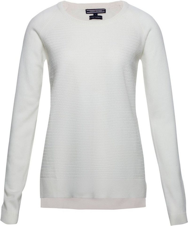 Tommy Hilfiger Pullover »GIANNA TEXTURE ROUND-NK SWTR« in SNOW WHITE
