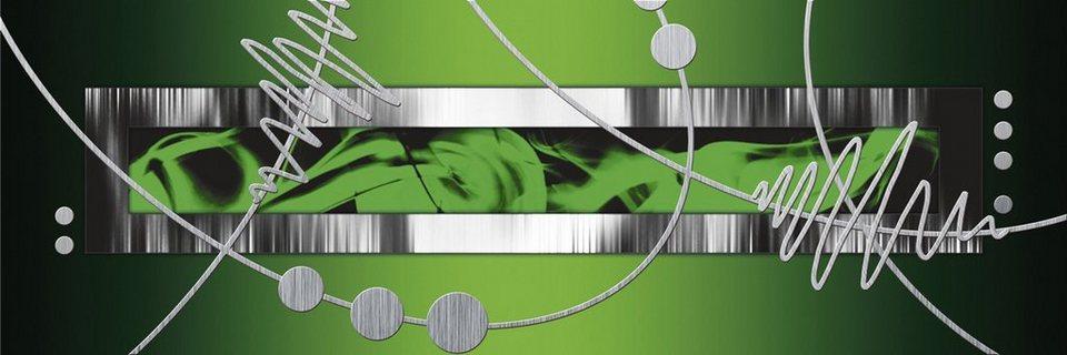 Home affaire Leinwandbild »Jule: Silber abstrakt auf Grün«, 120/40 cm in Grün