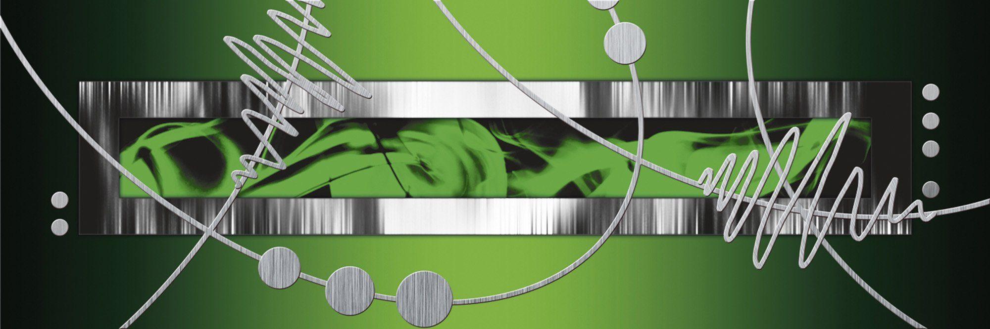 Home affaire Leinwandbild »Jule: Silber abstrakt auf Grün«, 120/40 cm