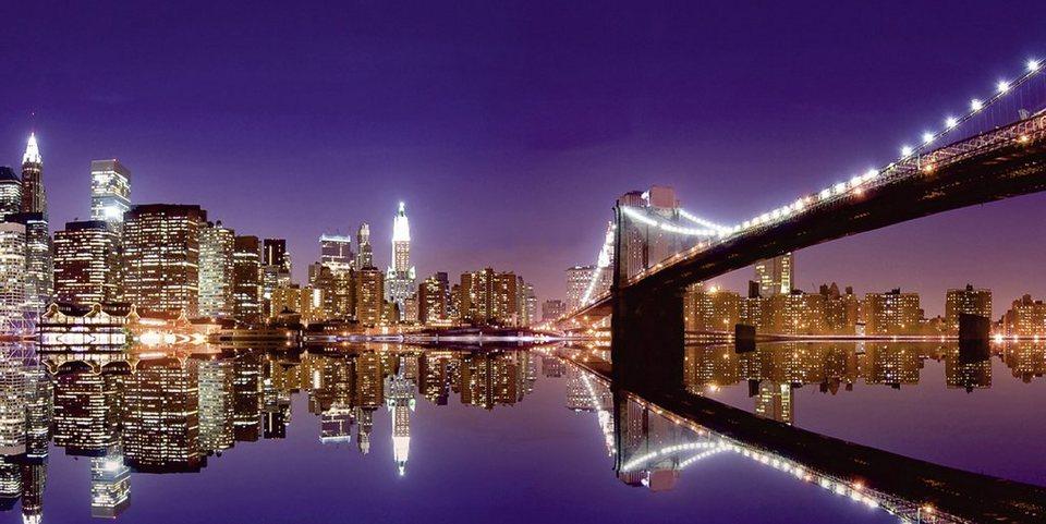 Home affaire Leinwandbild »M. Liu: N. Y. Skyline und nächtliche Reflektion«, 100/50 cm in Lila