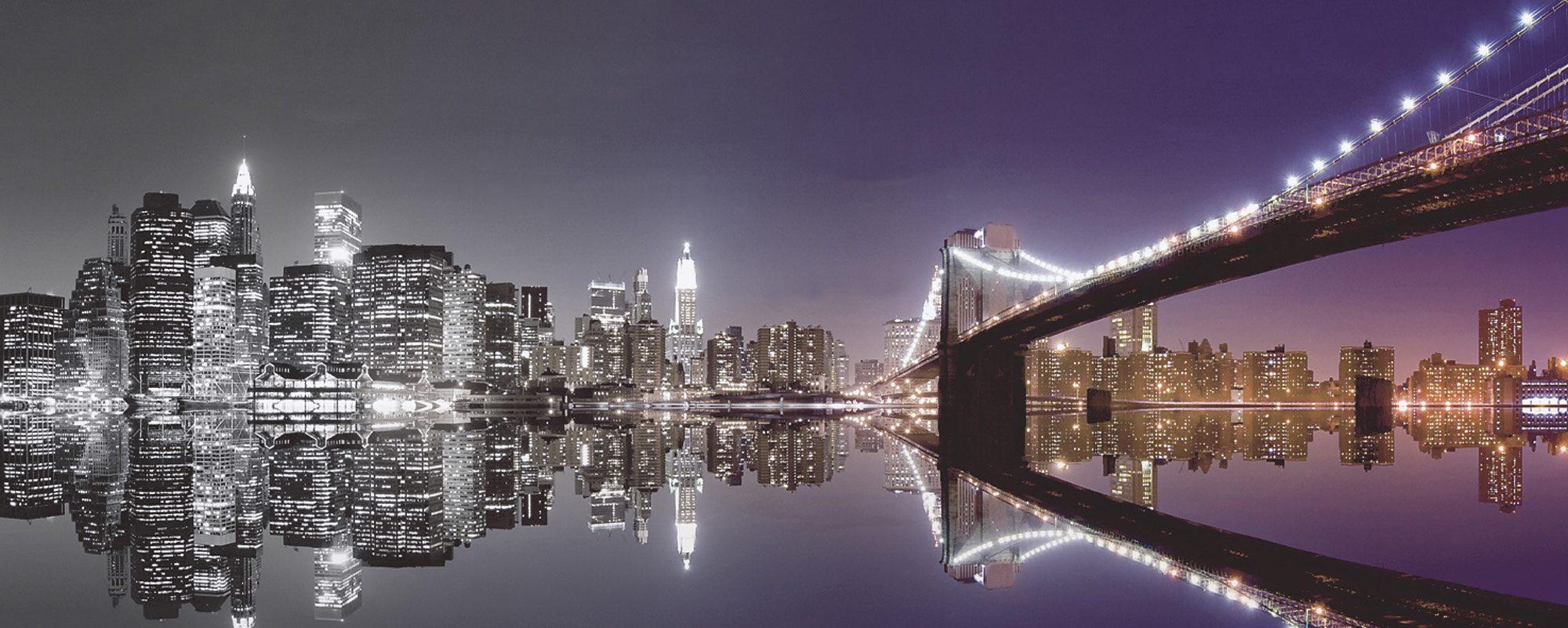Premium collection by Home affaire Glasbild »Mike Liu: N. Y. Skyline und nächtliche Reflektion«, 125/50 cm