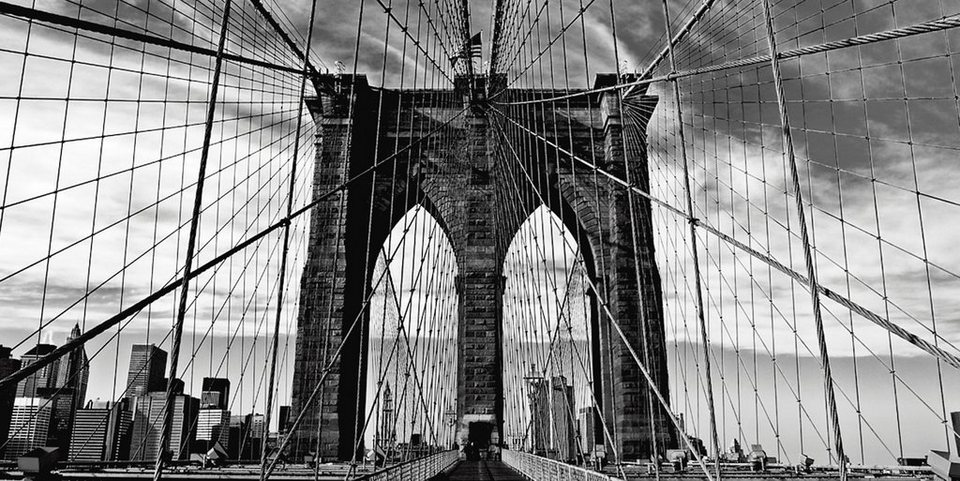 Home affaire Leinwandbild »Peter Knif: Brooklyn Bridge«, 100/50 cm in Schwarz/Weiß