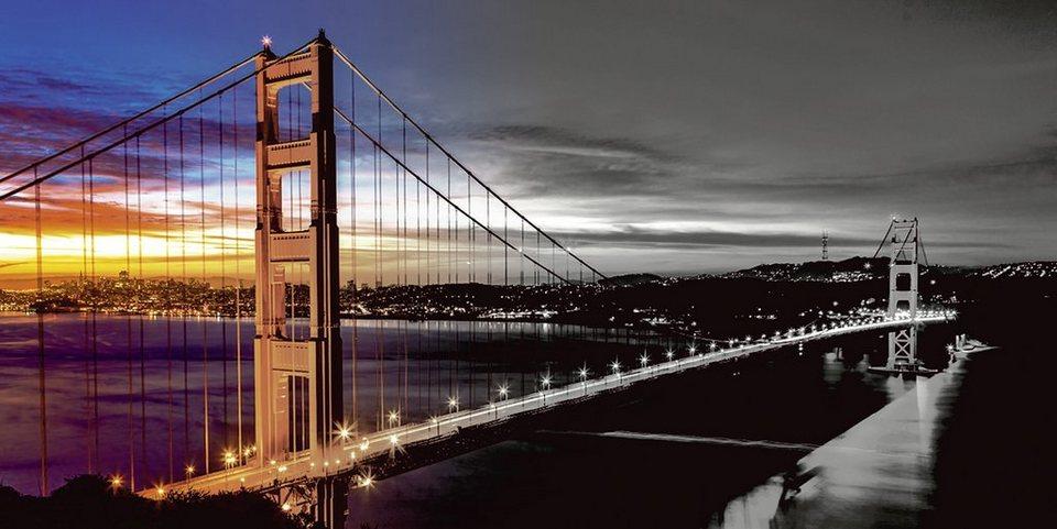 Home affaire Leinwandbild »Nithon: The Golden Gate Bridge am frühen Morgen«, 100/50 cm in Schwarz/Weiß