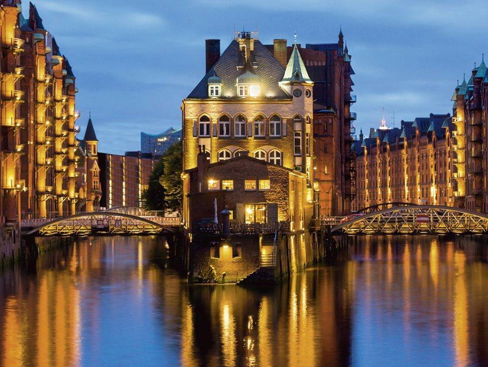 Home affaire Glasbild »elxeneize: Teil der alten Speicherstadt in Hamburg«, 80/60 cm in Blau