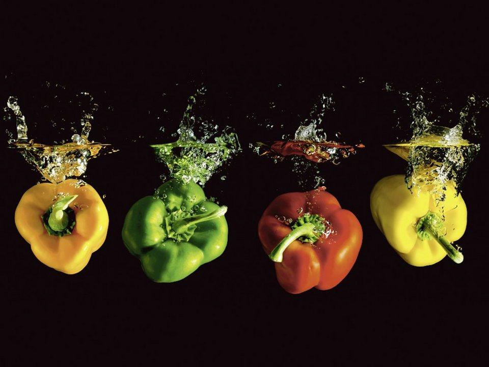 Home affaire Glasbild »Robert Neumann: Vier bunte Paprika fallen ins Wasser«, 80/60 cm in Bunt