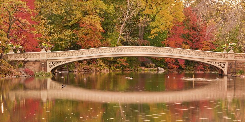 Home affaire Glasbild »EastVillage Images: Bow Bridge im Central Park. N. Y. City«, 100/50 cm in Bunt