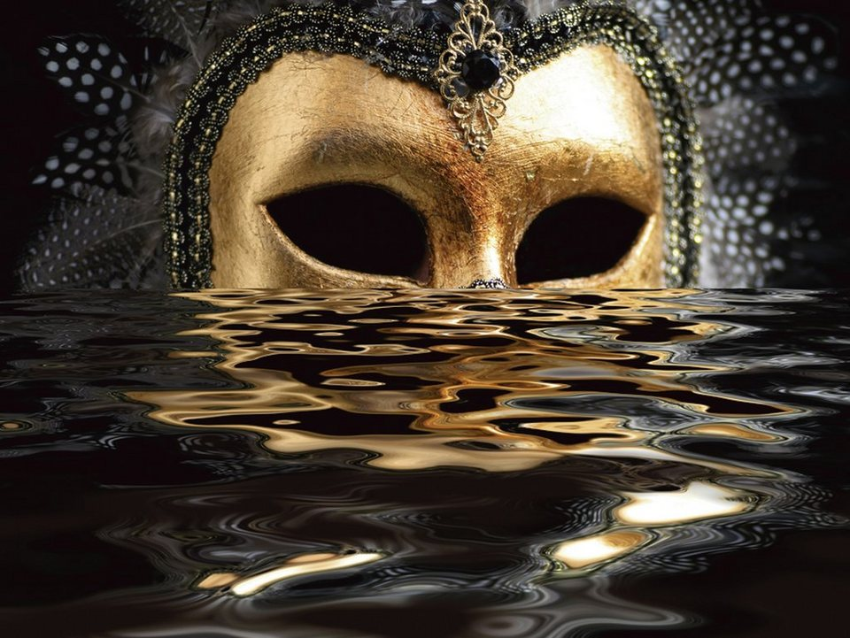 Premium collection by Home affaire Leinwandbild »hfng: Venezianische Maske mit Blattgold auf dem Wasser«, 80/60 cm in Gold