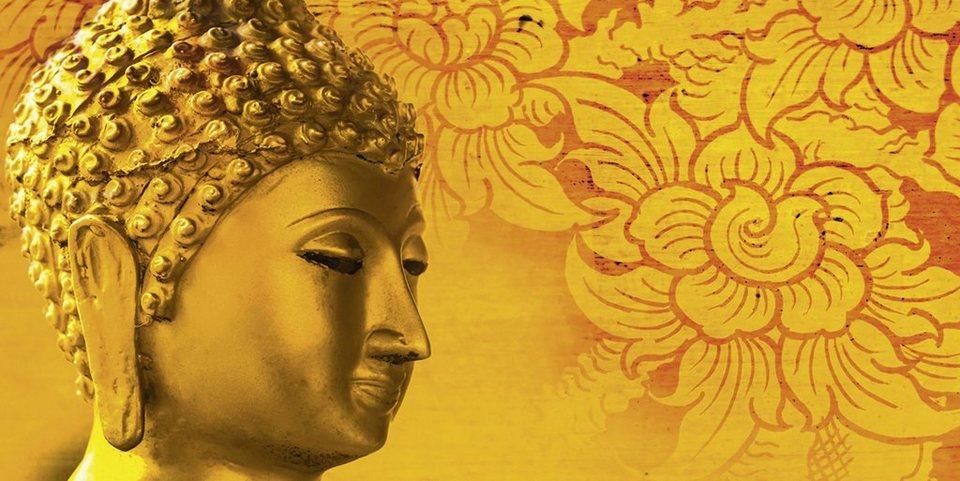 Home affaire Leinwandbild »P. Kraichana: Buddha Goldstatue in Thailand«, 100/50 cm in Rot