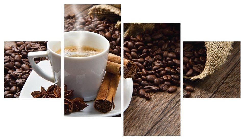 Home affaire Glasbild »Istantilli: Kaffeetasse und Leinensack auf Tisch » (4-tlg.) in Braun