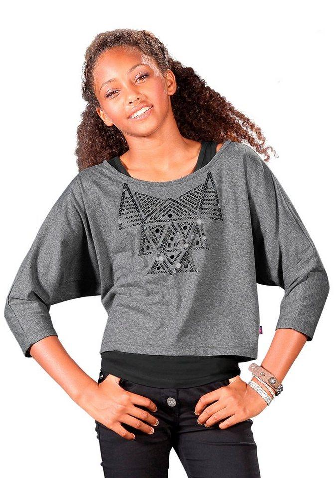 Buffalo Shirt & Top mit Paillettenapplikation (2-tlg.), für Mädchen in grau-meliert-schwarz