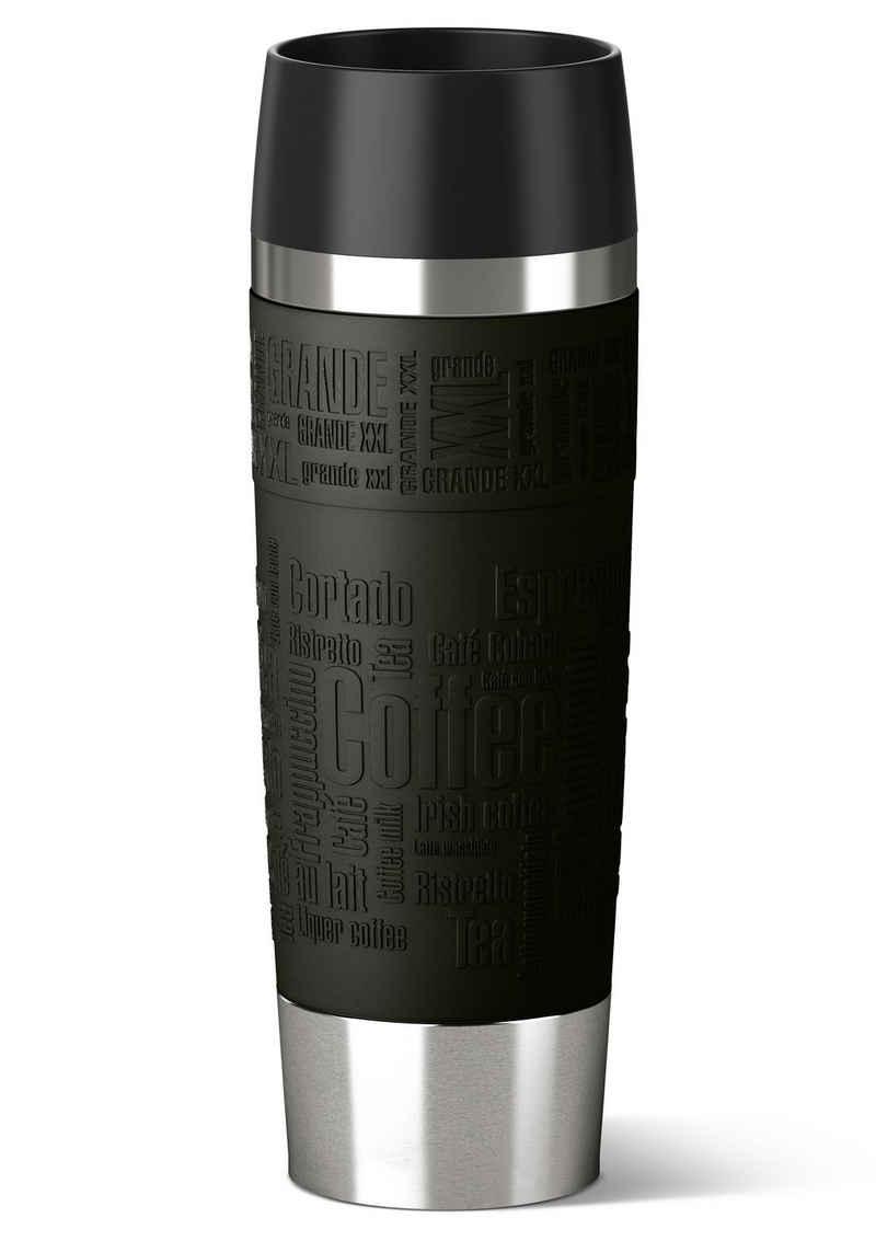 Emsa Thermobecher »Travel Mug Grande«, Edelstahl, Edelstahl, 500 ml Inhalt, 100% dicht, auslaufsicher, 360°-Rundum-Trinköffnung, spülmaschinenfest, hält Getränke 6 Stunden heiß und 12 Stunden kalt.