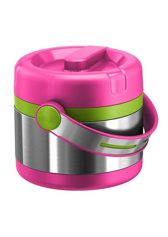 emsa Isolier-Speisegefäß, Edelstahl, 0,65 Liter, »MOBILITY KIDS« in silberfarben/grün/pink