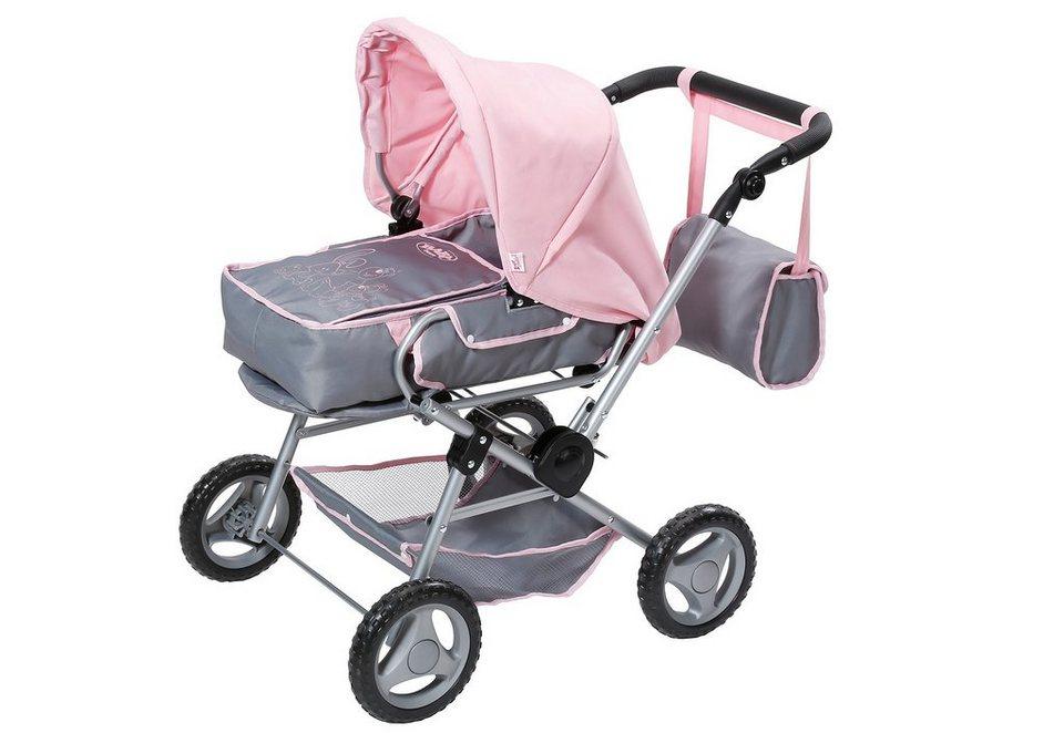 Zapf Creation Puppenwagen, »BABY born® - Deluxe Puppenwagen« in grau-rosa