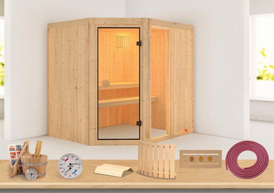 Konifera Sauna »Sofia 2«, 196/170/198 cm, 68 mm, 9-KW-Ofen mit int. Steuerung in natur