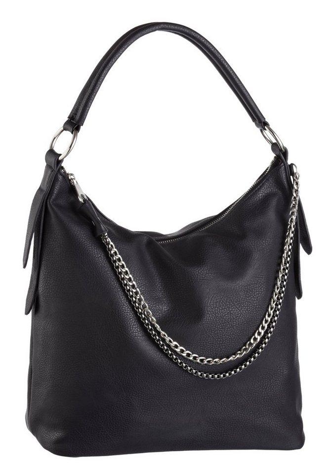Laura Scott Hobo Bag mit Ketten verziert in schwarz