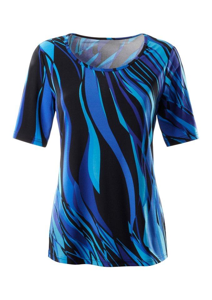 Ambria Shirt mit Rundhals-Ausschnitt in blau-gemustert
