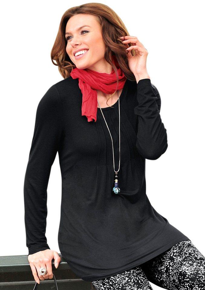 Ambria Longshirt mit Rundhals-Ausschnitt in schwarz