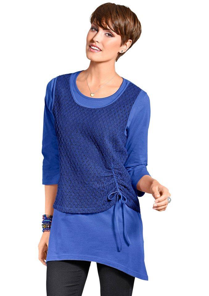 Classic Basics Shirttunika mit kürzerem Netztop in royalblau