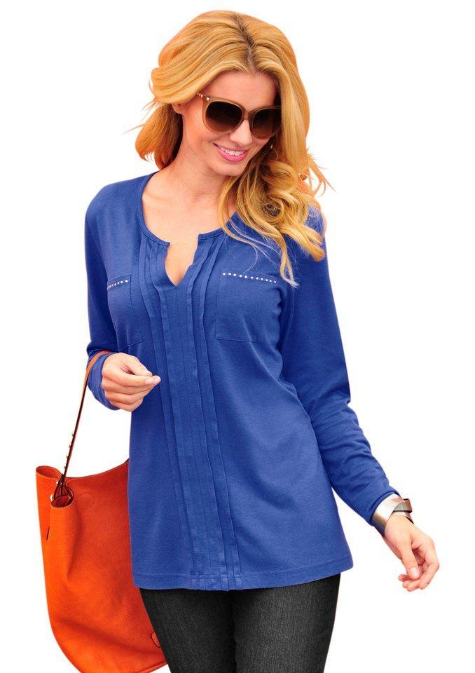 Ambria Longshirt mit längs verlaufenden Zierfalten in royalblau