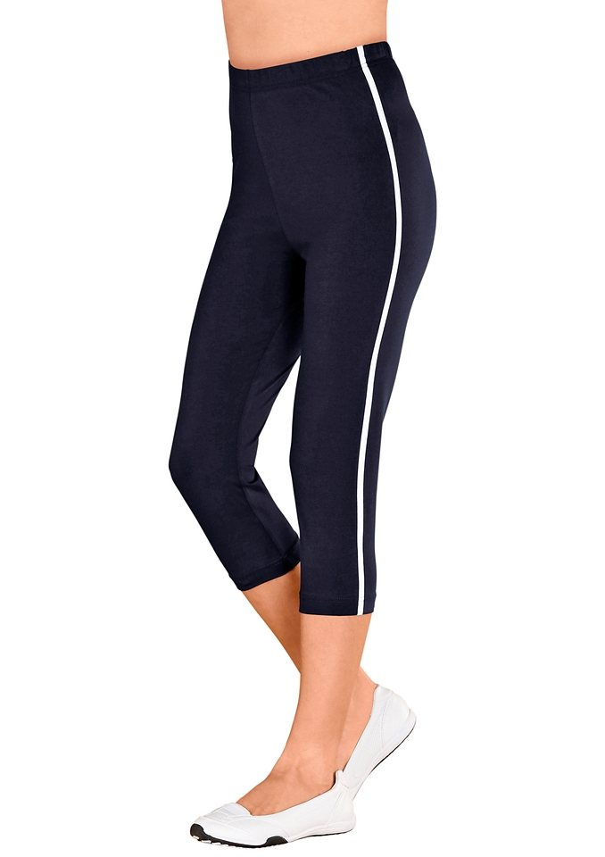 Classic Basics Capri-Leggings mit kontrastfarbenen Paspeln in marine-weiß