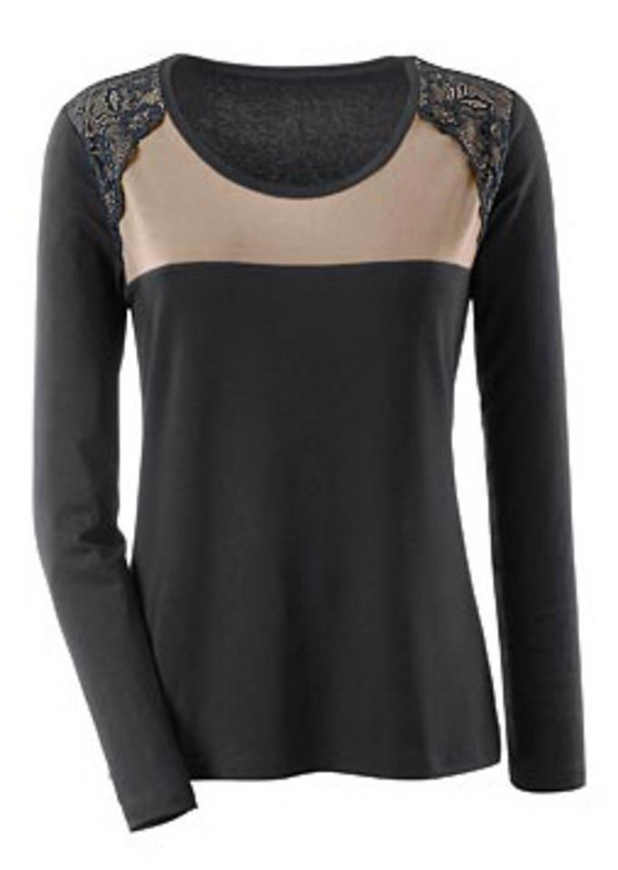 Ambria Shirt mit kontrastfarbigem Einsatz in schwarz-taupe