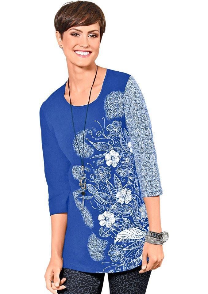 Classic Basics Shirttunika mit paspeliertem Rundhals-Ausschnitt in blau-bedruckt