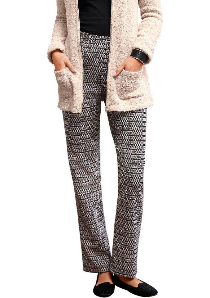 Classic Basics Hose mit fester Bundpatte vorne in taupe-schwarz