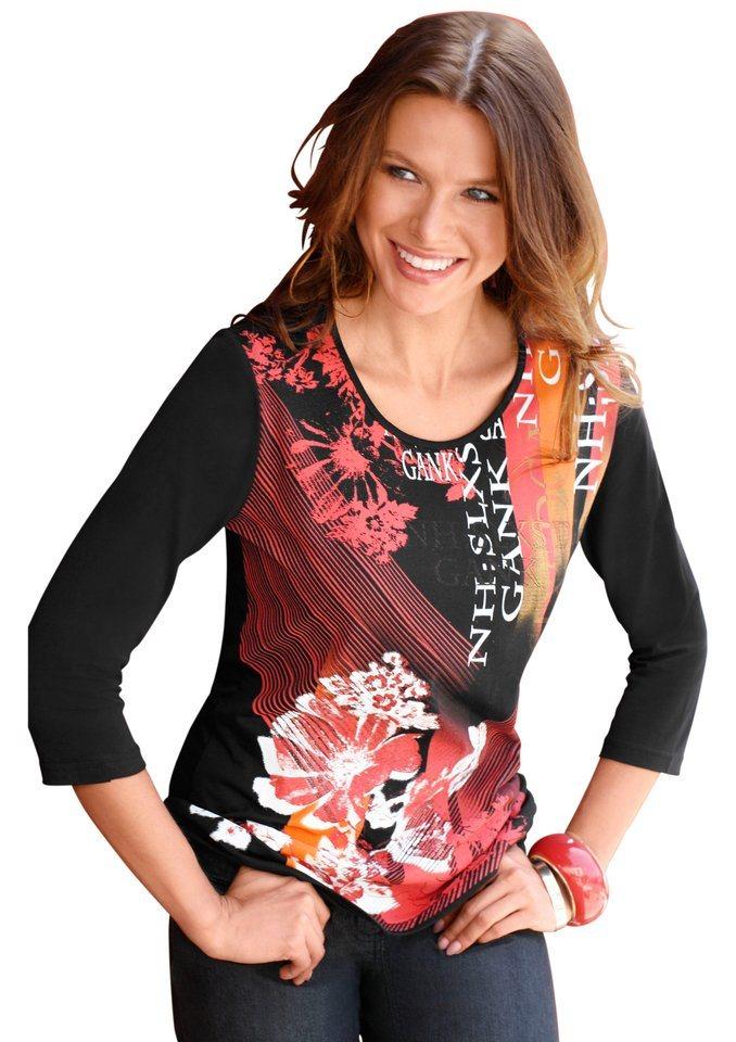 Création L Shirt mit 3/4-Ärmel in rot-bedruckt