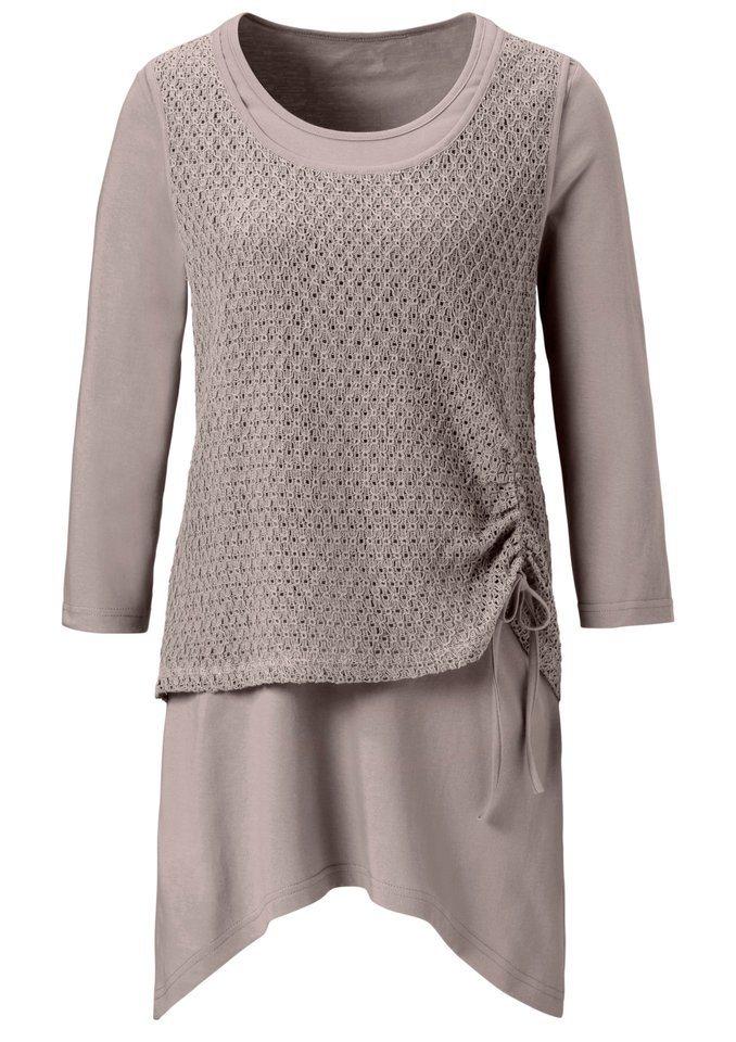 Classic Basics Shirttunika mit kürzerem Netztop in taupe
