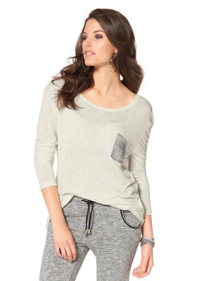 Aniston Rundhalsshirt mit Paillettenverzierung in ecru